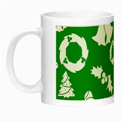 Green White Backdrop Background Card Christmas Night Luminous Mugs