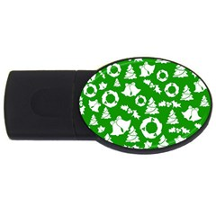 Green White Backdrop Background Card Christmas Usb Flash Drive Oval (4 Gb) by Celenk