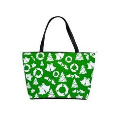 Green White Backdrop Background Card Christmas Shoulder Handbags by Celenk
