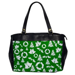 Green White Backdrop Background Card Christmas Office Handbags by Celenk