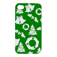 Green White Backdrop Background Card Christmas Apple Iphone 4/4s Premium Hardshell Case by Celenk