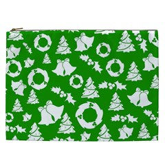 Green White Backdrop Background Card Christmas Cosmetic Bag (xxl)  by Celenk