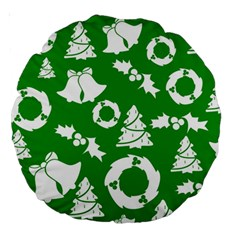Green White Backdrop Background Card Christmas Large 18  Premium Round Cushions by Celenk