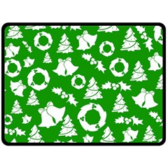Green White Backdrop Background Card Christmas Double Sided Fleece Blanket (large)  by Celenk