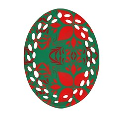 Christmas Background Oval Filigree Ornament (two Sides) by Celenk