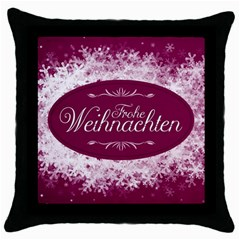Christmas Card Red Snowflakes Throw Pillow Case (black) by Celenk