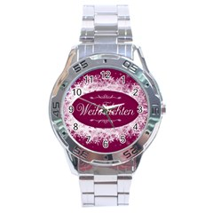 Christmas Card Red Snowflakes Stainless Steel Analogue Watch by Celenk