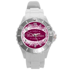 Christmas Card Red Snowflakes Round Plastic Sport Watch (l) by Celenk
