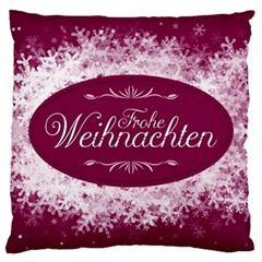 Christmas Card Red Snowflakes Large Cushion Case (one Side) by Celenk