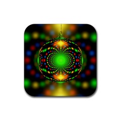 Christmas Ornament Fractal Rubber Coaster (square)  by Celenk