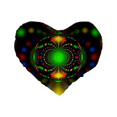 Christmas Ornament Fractal Standard 16  Premium Flano Heart Shape Cushions by Celenk
