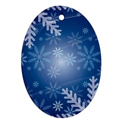 Snowflakes Background Blue Snowy Ornament (oval) by Celenk