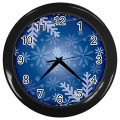 Snowflakes Background Blue Snowy Wall Clocks (black)