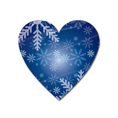 Snowflakes Background Blue Snowy Heart Magnet by Celenk