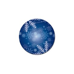 Snowflakes Background Blue Snowy Golf Ball Marker by Celenk