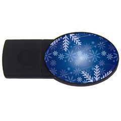 Snowflakes Background Blue Snowy Usb Flash Drive Oval (2 Gb) by Celenk