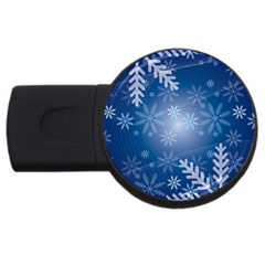 Snowflakes Background Blue Snowy Usb Flash Drive Round (4 Gb) by Celenk