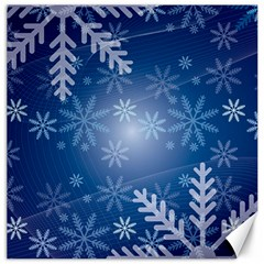 Snowflakes Background Blue Snowy Canvas 16  X 16   by Celenk