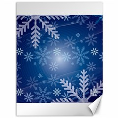 Snowflakes Background Blue Snowy Canvas 36  X 48   by Celenk