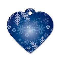 Snowflakes Background Blue Snowy Dog Tag Heart (one Side)
