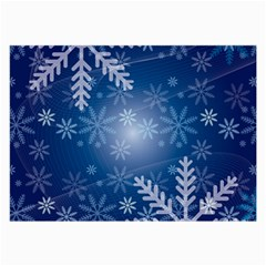 Snowflakes Background Blue Snowy Large Glasses Cloth by Celenk