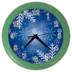 Snowflakes Background Blue Snowy Color Wall Clocks