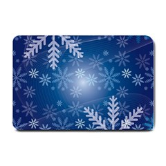 Snowflakes Background Blue Snowy Small Doormat  by Celenk