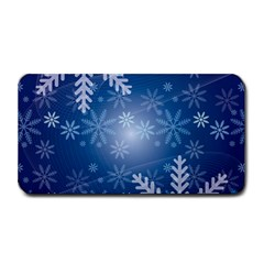 Snowflakes Background Blue Snowy Medium Bar Mats by Celenk
