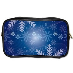 Snowflakes Background Blue Snowy Toiletries Bags 2 Side by Celenk