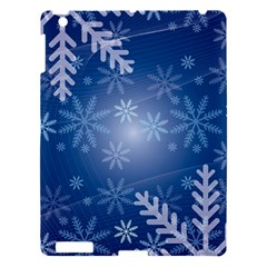 Snowflakes Background Blue Snowy Apple Ipad 3/4 Hardshell Case by Celenk