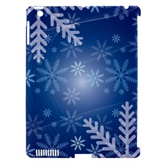 Snowflakes Background Blue Snowy Apple Ipad 3/4 Hardshell Case (compatible With Smart Cover) by Celenk