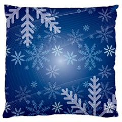 Snowflakes Background Blue Snowy Large Cushion Case (one Side)