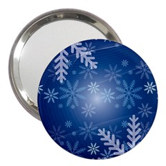 Snowflakes Background Blue Snowy 3  Handbag Mirrors by Celenk