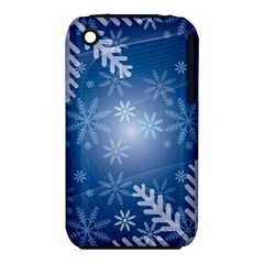 Snowflakes Background Blue Snowy Iphone 3s/3gs by Celenk