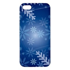 Snowflakes Background Blue Snowy Apple Iphone 5 Premium Hardshell Case