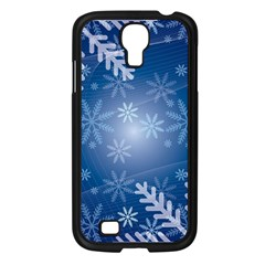 Snowflakes Background Blue Snowy Samsung Galaxy S4 I9500/ I9505 Case (black) by Celenk