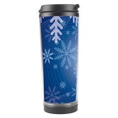 Snowflakes Background Blue Snowy Travel Tumbler by Celenk