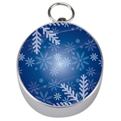 Snowflakes Background Blue Snowy Silver Compasses by Celenk