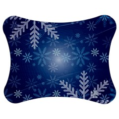 Snowflakes Background Blue Snowy Jigsaw Puzzle Photo Stand (bow) by Celenk