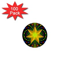 Christmas Star Fractal Symmetry 1  Mini Buttons (100 Pack)