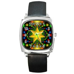 Christmas Star Fractal Symmetry Square Metal Watch by Celenk