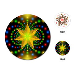 Christmas Star Fractal Symmetry Playing Cards (round)  by Celenk