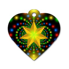 Christmas Star Fractal Symmetry Dog Tag Heart (two Sides) by Celenk
