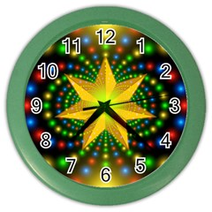 Christmas Star Fractal Symmetry Color Wall Clocks