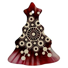 Background Star Red Abstract Christmas Tree Ornament (two Sides) by Celenk