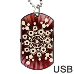 Background Star Red Abstract Dog Tag Usb Flash (one Side) by Celenk