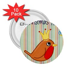 Bird Christmas Card Blue Modern 2 25  Buttons (10 Pack)  by Celenk