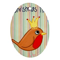 Bird Christmas Card Blue Modern Oval Ornament (two Sides) by Celenk
