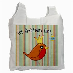 Bird Christmas Card Blue Modern Recycle Bag (two Side)  by Celenk