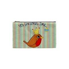 Bird Christmas Card Blue Modern Cosmetic Bag (small)  by Celenk